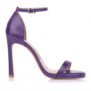 Sandália Salto Alto Couro Violet