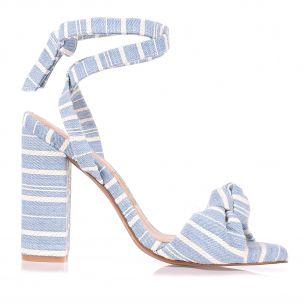 Sandália Salto Alto Sarja Stripe Jeans