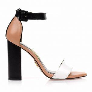 Sandália Salto Alto Skin Blanc