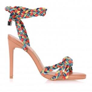 Sandália Salto Alto Trança Cotton Color