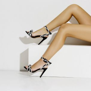 Sandália Salto Alto Trança Duo Preta