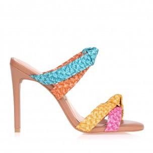 Sandália Salto Alto Trança Pink