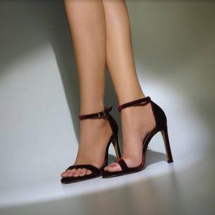 Sandália Salto Alto Veludo Vinho