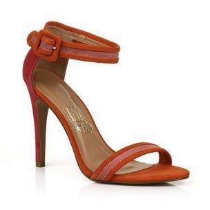 Sandália Salto Alto Verniz Arancio