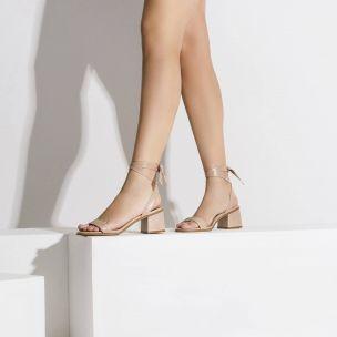 Sandália Salto Baixo Prada Nude