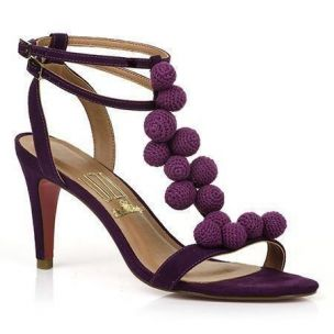 Sandália Salto Médio Camurça Grape