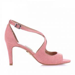 Sandália Salto Médio Camurça Rose