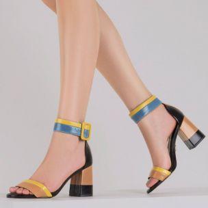 Sandália Salto Médio Color Block Pele