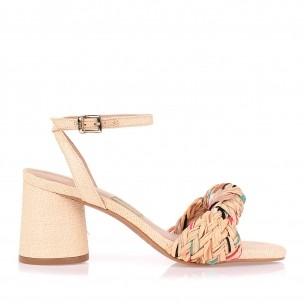 Sandália Salto Médio Color Braid Fucsia