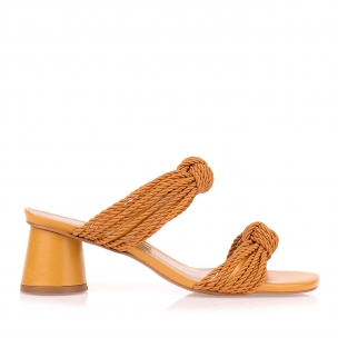 Sandália Salto Médio Cord Alta I Mustard