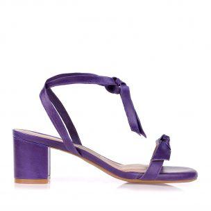 Sandália Salto Médio Couro Violet