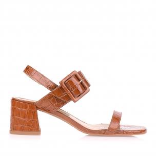 Sandália Salto Médio Croco Caramel