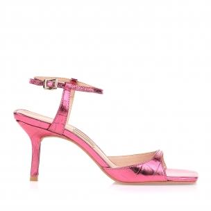 Sandália Salto Médio Croco Specchio Pink