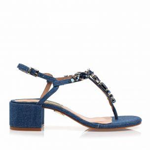 Sandália Salto Médio Dark Jeans
