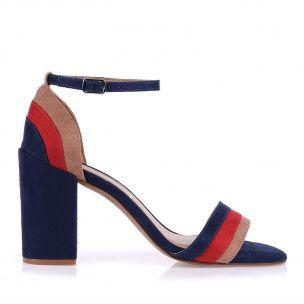 Sandália Salto Médio Grosso Camurça Azul/Tan/Vermelho