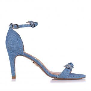Sandália Salto Médio Jeans Light