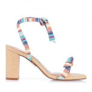Sandália Salto Médio Listra Color