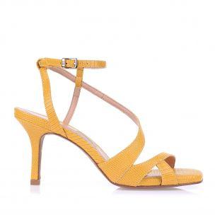 Sandália Salto Médio Lizard Metal Amarelo