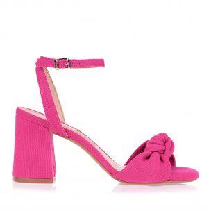 Sandália Salto Médio Lona Pink