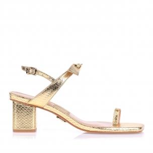 Sandália Salto Médio Metal Serpente Ouro