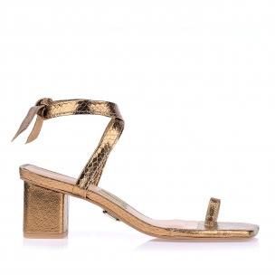 Sandália Salto Médio Metal Serpente Ouro Velho