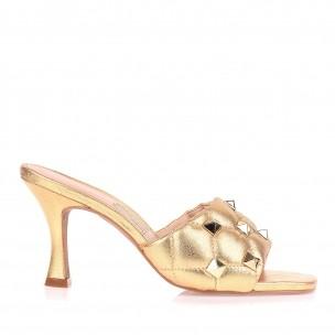 Sandália Salto Médio Metalizado Dourado