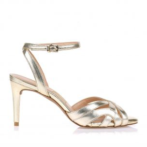 Sandália Salto Médio Metalizado Ouro