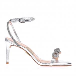 Sandália Salto Médio Metalizado Prata