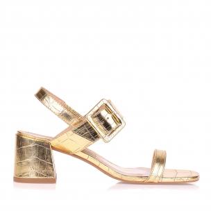 Sandália Salto Médio Min Croco Specchio Ouro