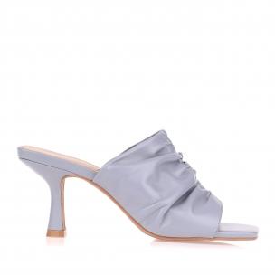 Sandália Salto Médio New Couro Blue
