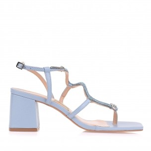 Sandália Salto Médio New Couro Bluey