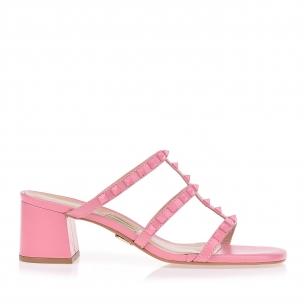Sandália Salto Médio New Couro Light Pink
