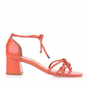 Sandália Salto Médio New Couro Orange