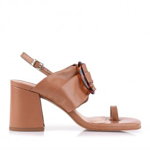 Sandália Salto Médio New Prada Tan