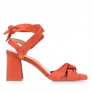 Sandália Salto Médio Nobuck Orange