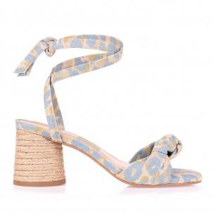Sandália Salto Médio Oz Linen Bluey