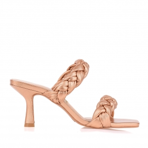Sandália Salto Médio Perolizado Golden