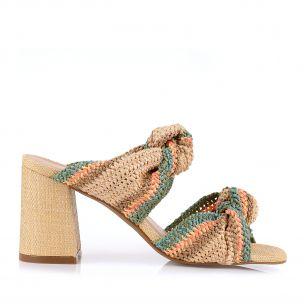 Sandália Salto Médio Tira Crochet Candy