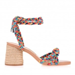 Sandália Salto Médio Trança Cotton Color