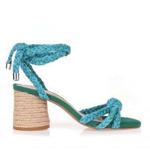 Sandália Salto Médio Trança Cotton Ocean