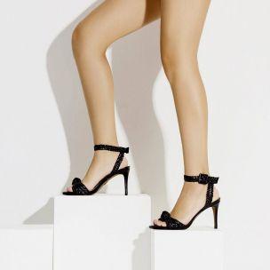 Sandália Salto Médio Trança Duo Preta