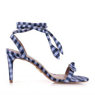 Sandália Salto Médio Vichy Blue