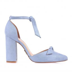 Scarpin Salto Alto Lace Up Denim