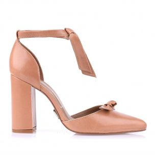 Scarpin Salto Alto Couro Lace Up Tan