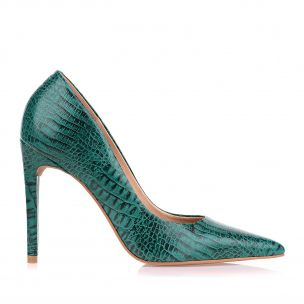 Scarpin Salto Alto Mini Croco Evergreen