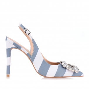 Slingback Salto Alto Grea.Strip Denim