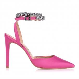 Slingback Salto Alto Satin Pink