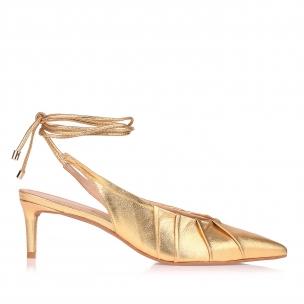 Slingback Salto Médio Metalizado Dourado