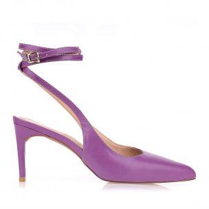 Slingback Salto Médio New Couro Purple