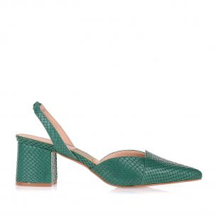 Slingback Salto Médio New Snake Evergreen
